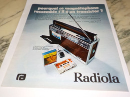 ANCIENNE PUBLICITE MAGNETOPHONE RADIO RADIOLA 1974 - Altri
