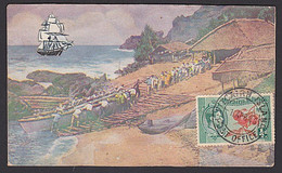 PITCAIRN ISLAND LANDING UNADDRESSED PICTORIAL COVER 1/2d KGVI STAMP - Islas De Pitcairn
