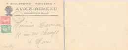 LETTRE PUBLICITAIRE AVICE-RIDEAU BOULANGERIE PATISSERIE FOULLETOURTE SARTHE 2.9.1926  /1 - Lettres & Documents