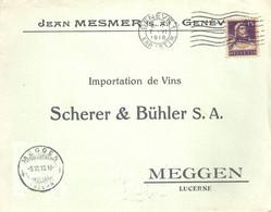 "Motiv Brief  ""Messmer, Genève"" - ""Scherer&Bühler, Weinimport, Meggen""          1918 - Brieven En Documenten"