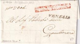 VENEZIA Comm° Generale Di Polizia Dip.to Dell'Adriatico Per Gambarare 26.2.1813 - 1. ...-1850 Prefilatelia