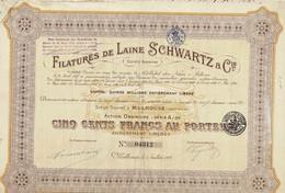 Titre Ancien - Filatures De Laine Schwartz & Cie - Société Anonyme -Titre De 1922 - - Textil