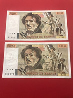 Lot De 4 Billets Français De 100 Francs Eugène Delacroix - 100 F 1978-1995 ''Delacroix''