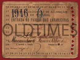 PORTUGAL - LISBOA - JARDIM ZOOLOGICO E DE ACLIMACAO EM PORTUGAL - BILHETE DE SOCIO - 52 ENTRADAS - 1946 - Biglietti D'ingresso