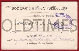 PORTUGAL - LISBOA - SOCIEDADE HIPICA PORTUGUESA - HIPODROMO DA PALHAVA - CONVITE PARA REUNIAO HIPICA - 1924 - Biglietti D'ingresso