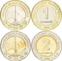 Turkmenistan, 1 Manat +2 Manat, 2010 , Bi-metallic - Turkmenistan