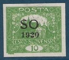 POLOGNE (SILESIE ORIENTALE) 1920 N° 2B  10 H Vert-jaune  (Timbre De Tchécoslovaquie) RRR - Silesia (Lower And Upper)