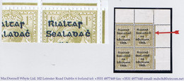 """Ireland 1922 Thom Rialtas Blue-black 1s, Var """"R Over Se And Wide Dac"""" Row 1/12, In A Corner Block Of 4 Mint - Unused Stamps"""