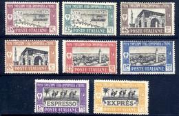 1927 LIBIA 1a FIERA DI TRIPOLI PO N.66/71 + EXP N. E14/15 NUOVI* LINGUELLATI - MH SET COMPLETE - Libia