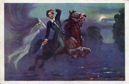 ARMED HORSEMAN AND WOMAN GHOST FINE OLD Postcard - Vertellingen, Fabels & Legenden