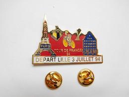 Beau Big Pin's , Cyclisme Vélo , Tour De France 94 , Départ De Lille , Média Journal La Voix Du Nord , Tour Eiffel - Mass Media