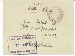 Lettre FIELDPOST 121JERUSALEM Brigade Juive En Palestine Avec Cachet De Censure Couronne 13.12.1945 - WW II