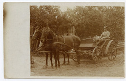 WWI. 1914-18. Oberjäger ( Premier Veneur ) Allemand En Calèche Avec Son Chien. Carte Photo. Véhicule Hippomobile. Chasse - Guerra 1914-18