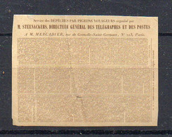 FRANCE : GUERRE . PIGEONGRAMME . DEPECHE N° 25 . 1870 . - War 1870