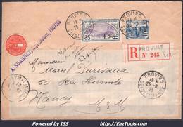 FRANCE N° 165+166 SUR LETTRE RECOMMANDÉE POUR NANCY DE PROVINS DU 25/09/1923 - Lettres & Documents