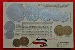 CPA Gaufrée / Drapeau Et Monnaie / Allemagne - Munten (afbeeldingen)