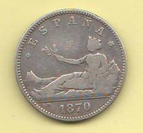 Spagna 1 Peseta 1870 SNM Spain Silver Coin ESPANA - Collections