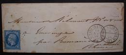 """Saint-Parres-lès-Vaudes (Aube) Origine Rurale, Deux Cad Dont Un Noté """"annulé"""", N° 14 Bleu Sur Lilas ? - 1849-1876: Periodo Classico"""