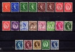 GREAT  BRITAIN   1952  Queen  Elizabeth 11  Wmk 153  Perf  15 X 14  Incl  Wmk Sideways   Complete  Set  Of  20  USED - Gebraucht