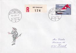 653 Auf R-Brief Mit LETZTTAGSSTEMPEL Poststelle HEITERSWIL (ST. GALLEN) - Marcofilia