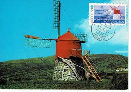 CARTE MAXIMUM PORTUGAL 1978 MOULINS A VENT  MOLINO DE VIENTO    WIND MILLS  WINDMÜHLE - Azores