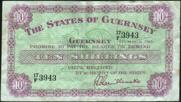 ♛ GUERNSEY - 10/- Shillings 01.03.1965 VF P.42 B - Guernsey