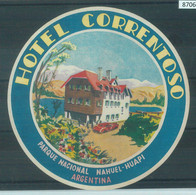 87069 - ARGENTINA - Vintage Hotel LABEL - Hotel CORRENTOSO Hauel-Huapi - Hotel Labels