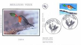 Enveloppe 1er Jour Meilleurs Voeux 2004, Rouge Gorge, 2003 (YT 3621) - 2000-2009