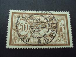 """1900-27  Oblitéré N° 120  """"   MERSON 50c Brun   """" Paris, Rue  D'amsterdam  """"   Net   2 - 1900-27 Merson"""