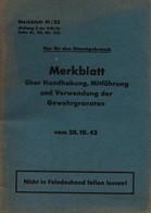 MANUEL WEHRMACHT 1942 GRENADE A FUSIL MAUSER ARMEE ALLEMANDE ARMEMENT - 1939-45