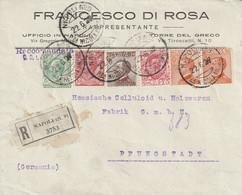 Italie Lettre Recommandée Napoli Pour L'Allemagne 1927 - Marcofilie