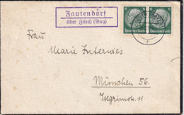 ALLEMAGNE 1938 LETTRE DE ZAUTENDORF ÜBER FÜRTH - Sin Clasificación