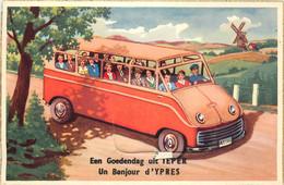 Belgique - Ypres - Carte à Système - Un Bonjour D ' Ypres - Autocar - Ieper