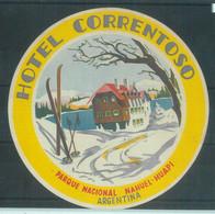 87072 - ARGENTINA - Vintage Hotel LABEL - Hotel CORRENTOSO Hauel-Huapi - Hotel Labels
