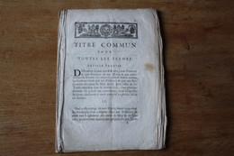 1680  Titre Commun Pour Toutes Les Fermes Charte Royale - Historical Documents