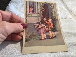 Cartes Fantaisie Enfants Filles Garçons. Enfants Avec Des Fleurs Dans Les Mains Fille - Other