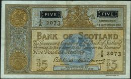 ♛ SCOTLAND - 5 Pounds 14.09.1961 {sing. Bilsland & Watson} {# 2A 2073} VF+ P.103 - 5 Pounds