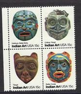 USA 1980, MiNr.1441-1444 Amerikanische Volkskunst: Indianer-Masken, Postfrisch Mnh ** - Unused Stamps