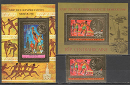 TT581 GOLD OVERPRINT CENTRAL AFRICA OLYMPIC 1980 MOSCOW MICHEL #733 BL122-3a 64 EU ST+BL MNH - Summer 1980: Moscow