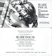 INVITATION THEATRE- HENRI RONSE -THEATRE OBLIQUE-BLAISE PASCAL-RIDEAU DE BRUXELLES-PIERRE LAROCHE-1978 - Biglietti D'ingresso