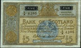 ♛ SCOTLAND - 5 Pounds 14.09.1961 {sing. Bilsland & Watson} {# 6A 4306} VF+ P.103 - 5 Pounds