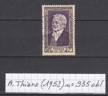 France Adolphe Thiers (1952) Y/T N° 935 Oblitéré à 10% De La Cote - Ungebraucht