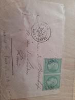 2 Timbres N°20 5c Empire Franc Vert Avec Tampon Numéro 2488 Sur Enveloppe - 1862 Napoleon III