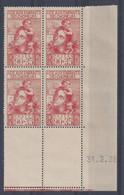 ENFANTS De CHÔMEURS N° 428 - Bloc De 4 COIN DATE - NEUF SANS CHARNIERE - 31/3/38 - 1930-1939