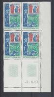 MORLAIX N° 1505 - Bloc De 4 COIN DATE - NEUF SANS CHARNIERE - 2/6/67  2 Traits - 1960-1969