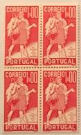 """POR#4850-Block Of 4 MNH Stamps Of 1 Escudo - """"4. Centenário Da Morte De Gil Vicente"""" - Portugal - 1937 - Blocs-feuillets"""