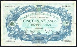 BELGIQUE - 500 Francs / 100 BELGAS - 31/10/1938 - N° 695.E.523 - 100 Francs & 100 Francs-20 Belgas