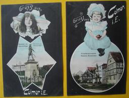 68 - GRUSS AUS COLMAR -- 2 CARTES : Monument Du Général Rapp - Rufacherstrasse - Colmar