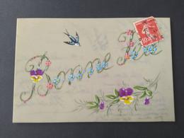 """Carte Postale En Celluloïd """"Bonne Fête"""", Avec Fleurs (pensée) Et Oiseau - Altri"""