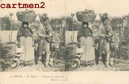 ILE ROUSSE PAYSANS SE RENDANT AU MARCHE CARTE STEREOSCOPIQUE 20 CORSE 1900 - Zonder Classificatie